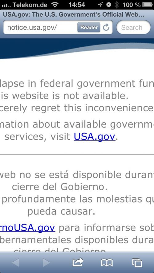 Due to the lapse in federal government funding